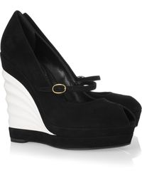 Saint Laurent Robyn Suede and Patent-leather Wedges - Lyst