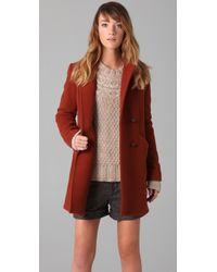 Lover Hooded Pea Coat brown - Lyst