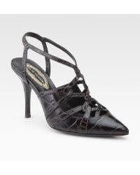 61866f30a1c Elie Tahari - Preston Croc-print Point Toe Leather Pumps - Lyst