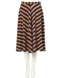 Topshop Stripe Full Midi Skirt - Lyst