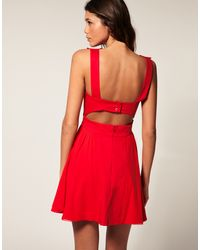 ASOS Collection Asos Skater Dress with Cut Out Back - Lyst