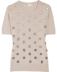 Clements Ribeiro - Crystal Daisy-embellished Cashmere Sweater - Lyst