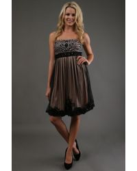 Sue Wong Black Short Dress - Lyst