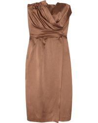 Alberta Ferretti Draped Hammered-silk Dress - Lyst