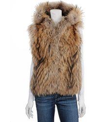 Scoop Hooded Fur Vest - Lyst