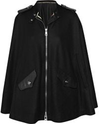 Burberry Brit Leather-trimmed Wool-felt Cape - Lyst