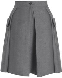 Boutique By Jaeger Wool Utility Skirt Grey - Lyst