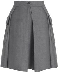 Boutique By Jaeger Wool Utility Skirt Grey gray - Lyst