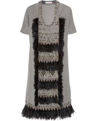 Matthew Williamson Appliquéd Wool-crepe Dress - Lyst