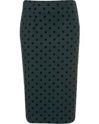Topshop Teal Spot Pencil Skirt - Lyst