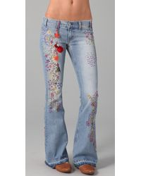 Textile Elizabeth and James - Embroidered Jimi Flare Jeans - Lyst