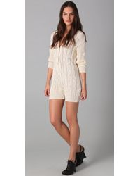 Shakuhachi - Cable Knit Playsuit - Lyst