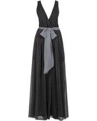 Halston Heritage Low Cut V Neck Long Dress - Lyst