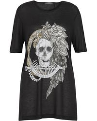 Alexander McQueen Black Oversized Skull Feather T-shirt black - Lyst