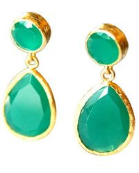 Toosis Angelina Style Green Drop Earrings - Lyst