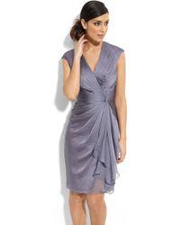 Adrianna Papell Faux Wrap Chiffon Dress - Lyst