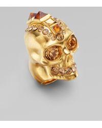 Alexander McQueen Punk Skull Ring/old Gold gold - Lyst