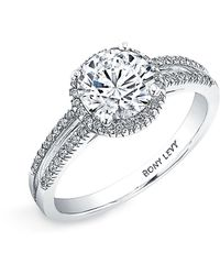 Bony Levy Pave Diamond Two-Row Engagement Ring Setting silver - Lyst