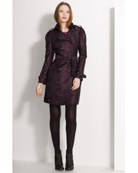 Burberry Print Double Breasted Trench - Lyst