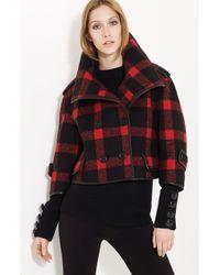 Burberry Prorsum Check Wool Blend Jacket - Lyst