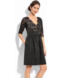 Eliza J Lace & Faille Dress - Lyst