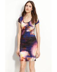 Nicole Miller Pleated Jersey Sheath Dress - Lyst