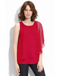 Pleione One Shoulder Flutter Sleeve Top - Lyst