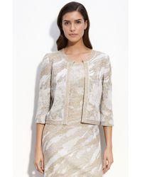St. John Evening Rose Garden Metallic Jacquard Knit Jacket gray - Lyst