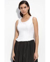 St. John Evening Herringbone Knit Corset Top white - Lyst