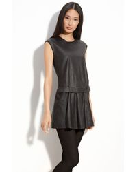 Theory Shandrin Lambskin Leather Tunic Dress - Lyst
