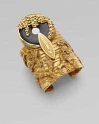 Saint Laurent Onyx Cuff Bracelet gold - Lyst