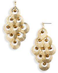 Cara Accessories Crystal Bead Chandelier Earrings - Lyst