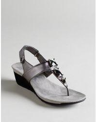 Ak Anne Klein Spectrum T-strap Wedge Sandals - Lyst
