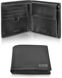 A.Testoni - Black Calf Leather Coin Compartment Billfold Wallet - Lyst