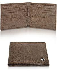 A.Testoni - Coffee Brown Caribou Leather Billfold Wallet - Lyst