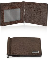 A.Testoni - Coffee Brown Caribou Leather Billfold with Money Clip - Lyst