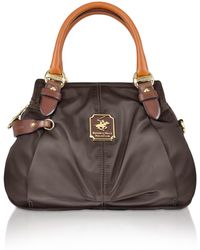 Beverly Hills Polo Club Nylon And Leather Mini Satchel Bag Lyst