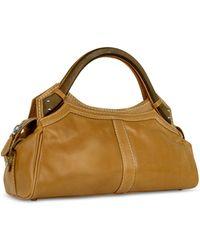 Buti - Faux Wooden Handle Leather Satchel Bag - Lyst