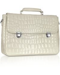Giorgio Fedon - City-1 - Croco Stamped Leather Laptop Briefcase - Lyst