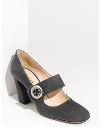 Prada Button Mary Jane Pump - Lyst