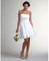 Theia Strapless Cocktail Dress with Ruched and Beaded Bodice - Lyst