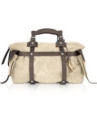 Tuscan's Canvas and Leather Satchel Bag - Lyst