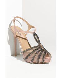 Valentino Embellished T-strap Sandal - Lyst