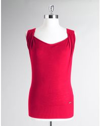Calvin Klein Silk-blend Cowlneck Sweater Shell - Lyst