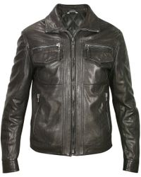 Forzieri Men'S Black Genuine Leather Motorcycle Jacket - Lyst