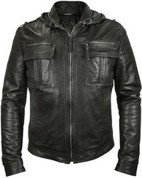 Forzieri Men'S Black Leather Motorcycle Jacket - Lyst