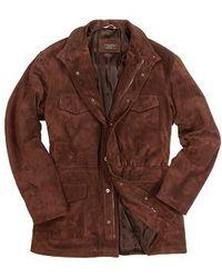 Forzieri Men'S Brown Four Pocket Italian Suede Leather Jacket - Lyst
