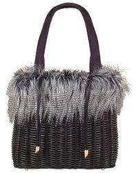 FORZIERI - Capaf Line Wicker And Faux Fur Handbag - Lyst