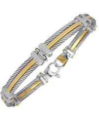 Forzieri Difulco Line Gold And Stainless Steel Link Bracelet - Lyst