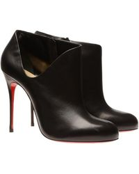 Christian Louboutin Leather Cutout Ankle Boots - Lyst